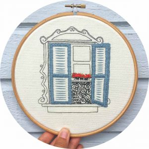 Charming Window in Paris Embroidery Pattern