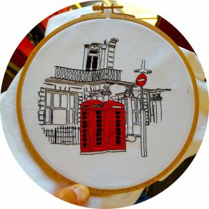 Red Telephone Booth Embroidery Design