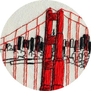 Golden Gate Bridge Embroidery Close Up
