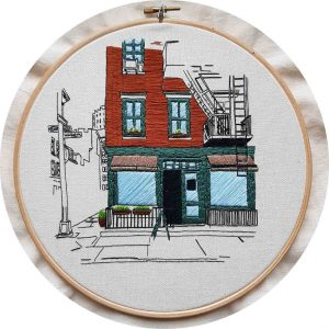 Greenwich Village Café Embroidery Design