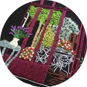 Hidden Courtyard Paris Embroidery
