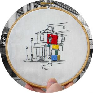 Old Parisian Café Embroidery Design
