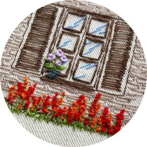 Brick House Window Hand Embroidery Pattern Charles and Elin Close Up
