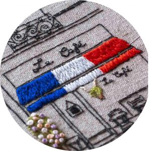 Le Café of Paris - Charles and Elin Hand Embroidery Pattern Closeup