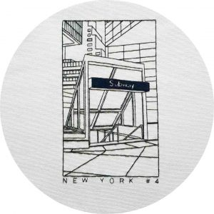 Subway, New York City - Charles and Elin Hand Embroidery Pattern