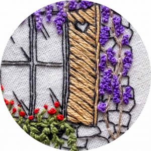 Wisteria Love - Charles and Elin Hand Embroidery Pattern closeup